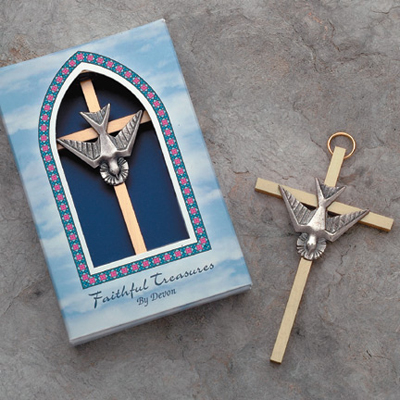 Brass cross with holy spirit, 4in. - 7/7629 Image