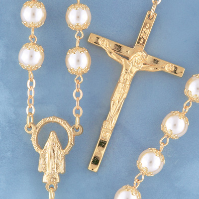 Goldplated Pearl Rosary - 1508/G Image