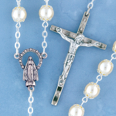 Silverplated Pearl Rosary - 1508/S Image
