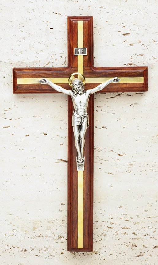 9in. Walnut Crucifix with Brass Inlay - 17/360 Image