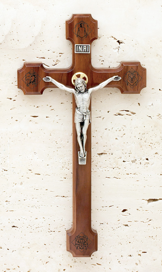 10in. Engraved Walnut Crucifix - 1751A Image