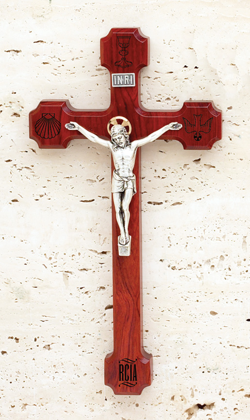 8in. RCIA Engraved Rosewood Crucifix - 1751R Image