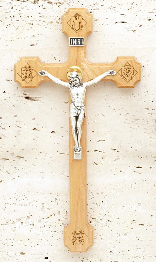 10in. Engraved Maple Crucifix - 1753A Image