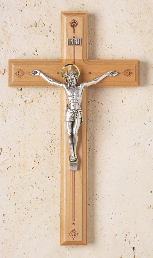 11in. Maple Crucifix with Laser-engraved Pattern - 1753G Image
