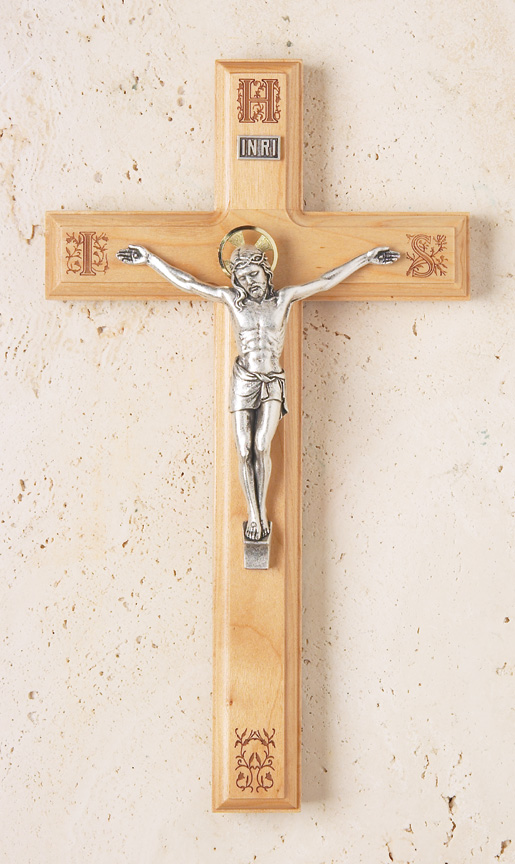 11in. Maple Crucifix with Laser-engraved Pattern - 1753H Image