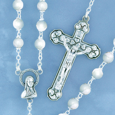 Silverplated Pearl Rosary - 7648/S Image