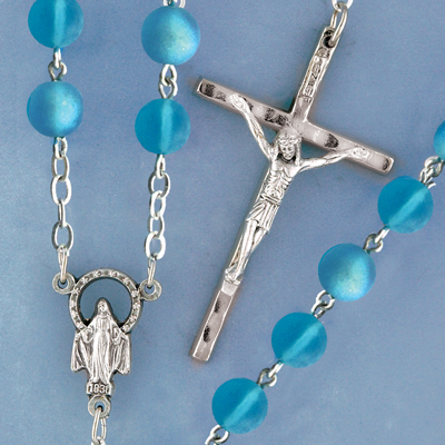 Frosted Glass Rosary - 947/AQ Image