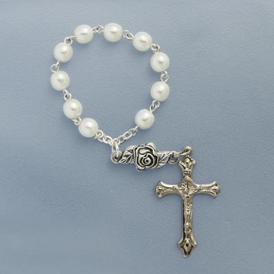 One Decade White Rosary - 08231/WH Image