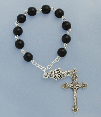 One Decade Black Wood Rosary - 08902/BK Image