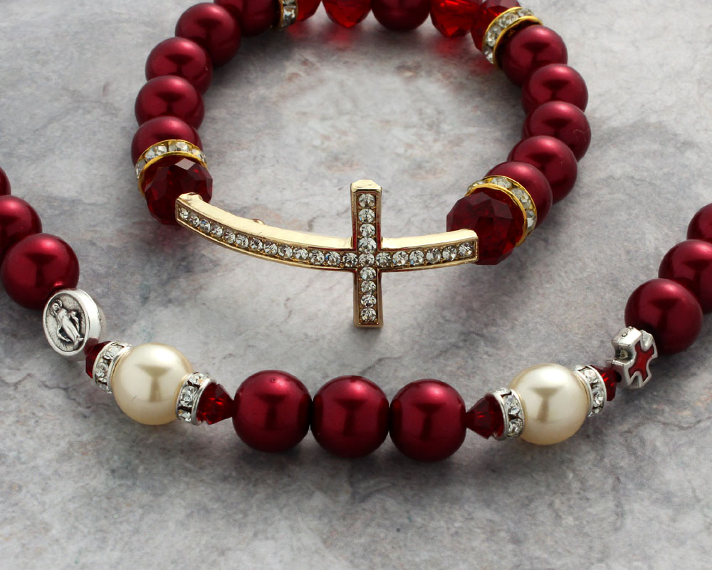 Red Pearl Rosary Necklace/Bracelet - N589/RD B589/RD Image